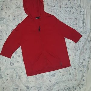 Red DKNY Jeans hoodie sweater